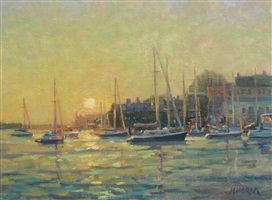 harbor sunrise by leonard mizerek