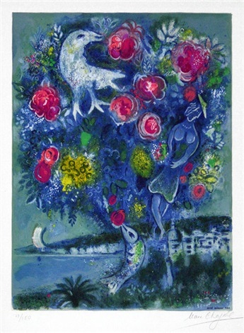 angel bay with a bouquet of roses, from nice and the côte d'azur by marc chagall