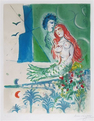 sirène au poète (siren with poet) from nice & the côte d'azur by marc chagall