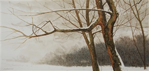 trees in snow (study) by william entrekin