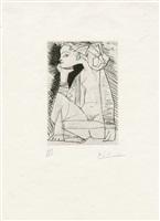 femme assise en tailleur: geneviève laporte aus recordant el doctor reventós (jacint reventós) by pablo picasso