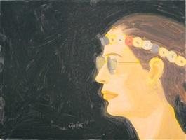 vivien with head piece by alex katz