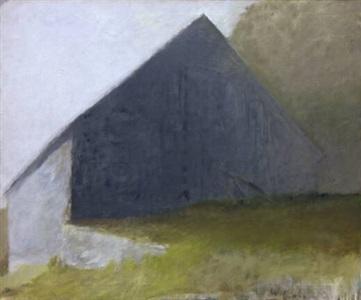 barn in white light by wolf kahn