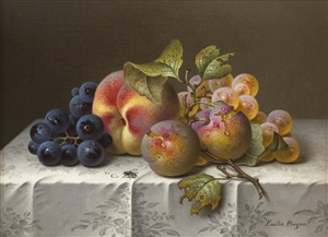 still life with grapes and peaches by emilie preyer
