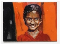 girl smiling (orange) by geraldine swayne