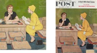 saturday evening post cover (study, + cover print; 2 works) by amos sewell