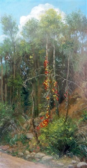 landscape with birch and berries by julie heffernan