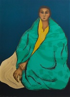 untitled (woman wearing green blanket) by rudolph carl gorman