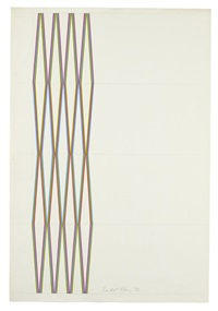 series 12. cerise, olive and turquoise by bridget riley
