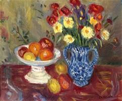 nature morte, vase, fruits et fleurs by charles camoin