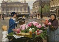 le marchand de fleurs, paris by louis marie de schryver