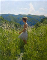 a young lady in a mountain meadow by marc dalessio