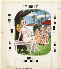 playboy cartoon illustration, april by john dempsey