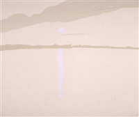 sunset: lake wesserunsett iv by alex katz