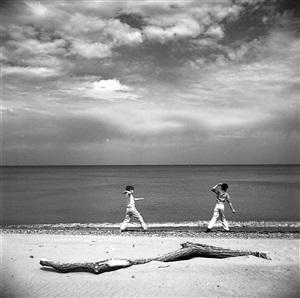 wilmette, illinois (two boys on beach) by vivian maier