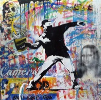 thrower (painting) by mr. brainwash