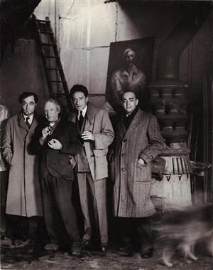 pierre reverdy, picasso, jean cocteau and brassaï in picasso's studio at rue des grands augustins, paris, april 27, 1944 by brassaï