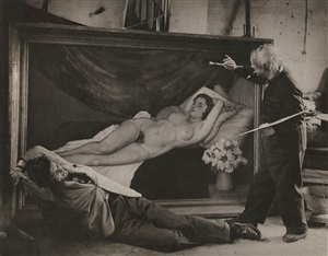 picasso posing as the artist with jean marais as his model by brassaï