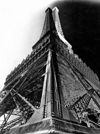 double-impression of the eiffel tower, paris by françois kollar