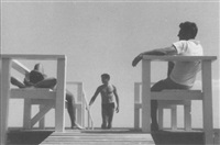 three figures on a deck, fire island by paul cadmus