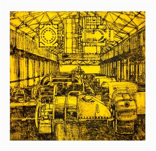 untitled yellow generator room by matt mullican