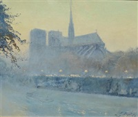evening glow-notre dame by pierre faget-germain