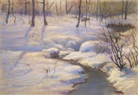 winter landscape with brook by william partridge burpee
