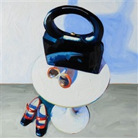 navy handbag still life by kelly reemtsen