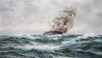 forging ahead - clipper ship on the high seas by henry scott