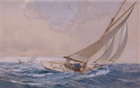 heave away, racing cutters by montague dawson
