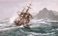 ship driving onto the aucklands by montague dawson