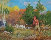 hunter and dog in landscape by anton otto fischer