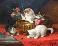 playful kittens by léon charles huber
