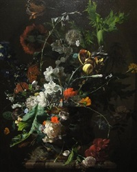 flowers in a vase with bird's nest on a marble pedestal by arthur chaplin