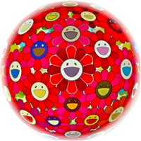 flower ball 3d red cliff by takashi murakami