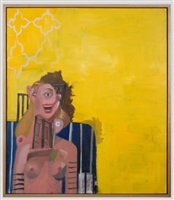 yellow seated woman by george condo