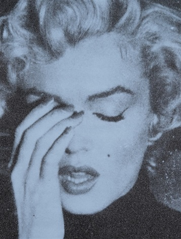 marilyn crying – alice blue & black by russell young