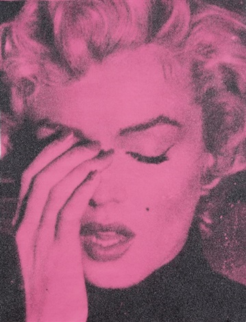 marilyn crying – persian rose & black by russell young