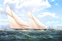 vigilant and valkyrie ii windward leg, america's cup series, 1893 by stephen j. renard