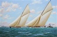surging ahead - vigilant &valkyrie ii windward leg, america's cup series, 1893 by stephen j. renard