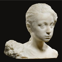 a carrare marble bust of a girl by prince paolo troubetzkoy