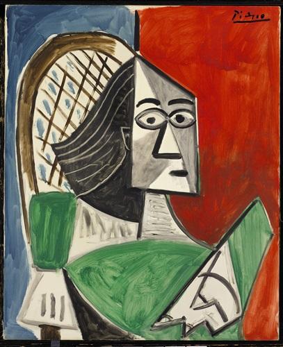 femme assise sur fond bleu-rouge by pablo picasso