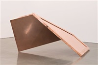 "copper surrogate (60"" x 120"" 48 ounce c11000 copper alloy, 90° bend, 77 3/4"" 135° antidiagonal / 45° diagonal bisection: *dates of installation/deinstallation, city, state of installation*) by walead beshty"