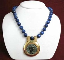 lapis beaded necklace featuring a roman bronze sestertius of emperor gordian iii