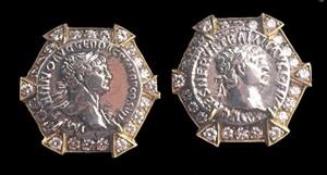 diamond studded cufflinks with roman silver denarii of emperor trajan