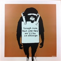 album records laugh now brown by banksy