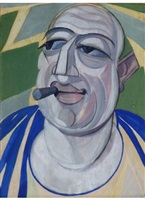 self portrait with cigar by hugó scheiber