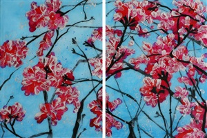 geranium diptych by hill & stump