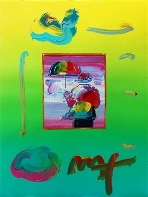 umbrella man (overpaint) by peter max