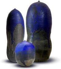 makaha blue triptych by toshiko takaezu